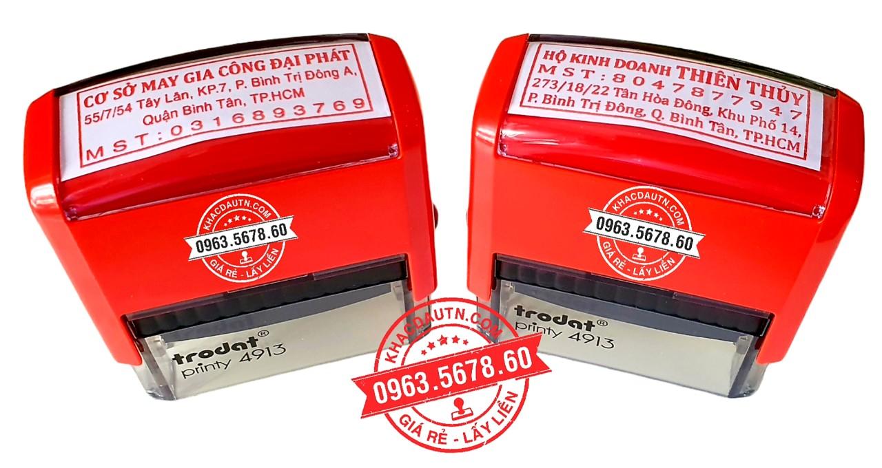 khắc con dấu vuông thông tin công ty giá rẻ, nhận làm con dấu giao hàng tận nơi, xuất hd VAT cho khách hàng là công ty